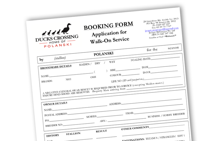 Application for walk-on service